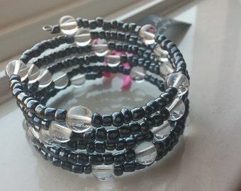Crystal Globe Graphite Wrap Bracelet