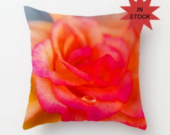 Pink Rose Home Decor, Pillow Cover, Cushion Case, Victorian Floral Accent, Botanical Decor, Peach Valentine's Day Gift, Mother's Day Present