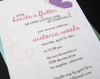 little hearts a flutter invitation