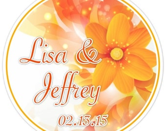 Bridal Shower Labels, Custom Wedding Stickers or Bridal Shower Stickers, Orange Floral - Personalized for YOU