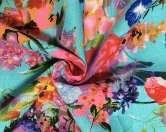 Floral Linen Cotton Mixed Fabric 0422