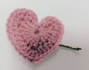 Crocheted Heart Hairclip