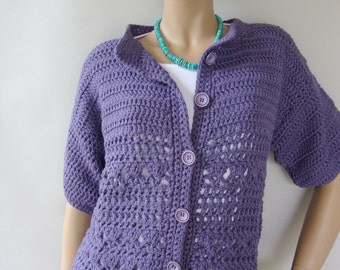 Crochet Cardigan, Blue Cardigan, Cotton Cardigan, Crocheted Cardigans, Cardigan Sweaters, Blueberry Jacket, Available in M and L/XL