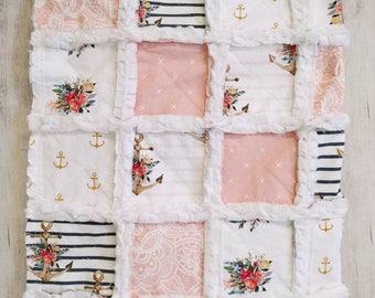 Nautical Floral Rag Quilt