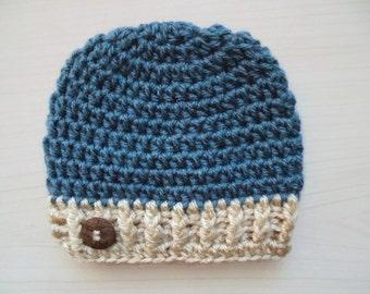 Crochet baby boy hat Winter baby hat Blue newborn hat Newborn crochet hat Baby beanie Newborn boy hat winter outfit Boy hospital hat