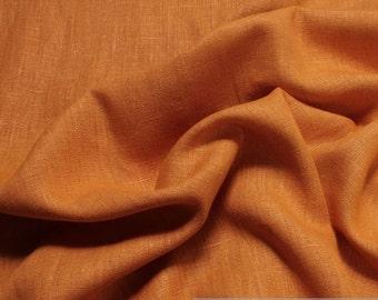 Fabric pure linen yellow-orange yellow orange