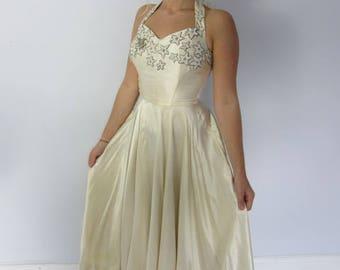 Vintage 40's cream satin beaded evening or wedding dress boned corset XS halter neck Hollywood old glamour