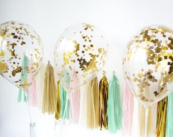 3 confetti balloons gold birthday balloons party decorations party balloon gold confetti balloons