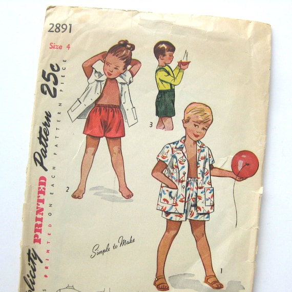 Vintage Sewing Pattern / Child Playsuit Pattern / Kids\' Shorts ...