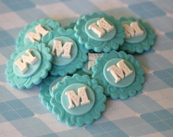 Classic Initial Fondant Toppers - Perfect for Cupcakes, Cookies and Other Edible Creations - Weddings