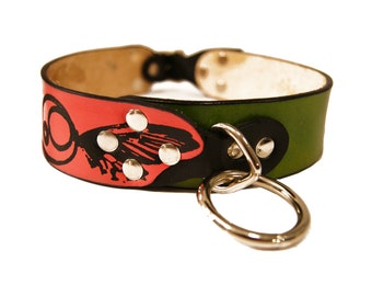 Dog Collar Leather with Butterfly and Vines Design