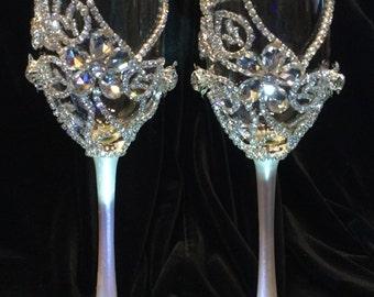 Wedding Champagne Glasses,Toasting Flutes,Glass Crystal Rhinestone,Bride&Groom