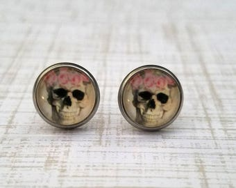 Flower Skull Stud Earrings 10mm