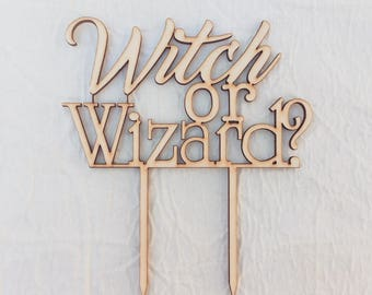 Witch or Wizard Harry Potter Gender Reveal Cake Topper