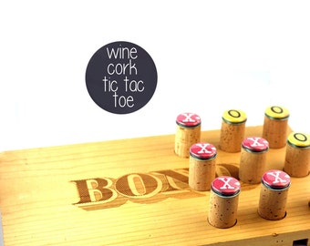 Wine Wedding Gift, CUSTOM, Gift for Wine Lovers, Wine Cork Tic Tac Toe Game, Recycled Wine Corks & Wine Crate, Love, Personalized Board Game