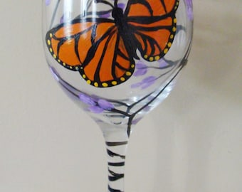 Monarch Butterfly and Lilac Wine Glass Hand Painted