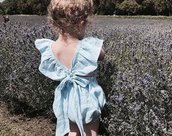 Girls romper, baby romper, toddlers romper, linen romper, blue romper, summer romper, size 12-24 months
