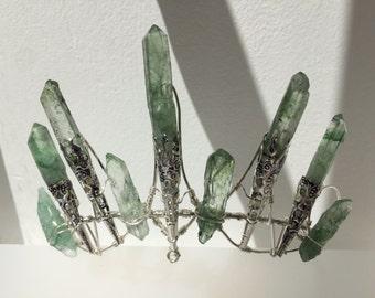 The IVY Crown - Magical GREEN Quartz Crown Tiara - Ethereal Alternative Wedding Bridal Headdress Halloween