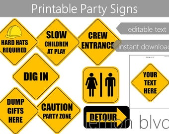 Construction Party Signs | Construction Instant Digital Download | Editable Text | Construction Road Signs | Construction Party