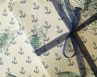 Gift Wrap Sea Anchors // Wrapping Paper, Ocean, Illustration, Baptism, Birthday, Wedding, Nautical, Pirate,  Baby Shower, Blue, Green, White