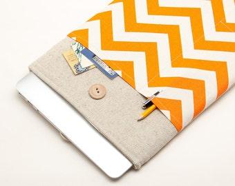 30% OFF SALE White Linen MacBook 13 Case. Case for MacBook 13 Pro (non retina). Sleeve for MacBook 13 Pro with orange chevron