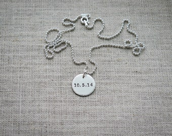 Birth Date Necklace - Personalized Sterling Silver Disc Hand Stamped by Betsy Farmer Designs