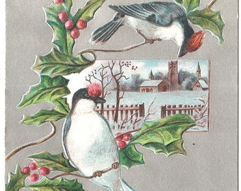Vintage 1907 Postcard -  Wishing you a Merry Christmas - used - Foil - Birds
