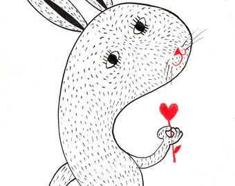 Love blossoms / ORIGINAL  ILLUSTRATION / ink drawing / Heart shape