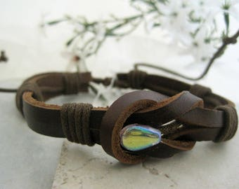 Leather Cuff Bracelet Brown Sailor Knot Wrap Bracelet