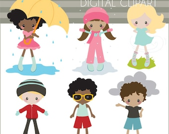 Weather Clipart -Personal and Limited Commercial- Children in Weather Clip art, Classroom Clipart