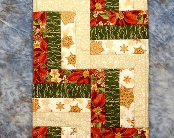 Quilted Christmas Holiday Table Runner, Table Topper, Table Decor - Rail Fence Design