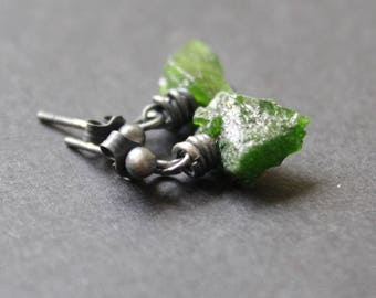 Small earrings, raw sterling silver and diopsyde earrings, oxidized silver,