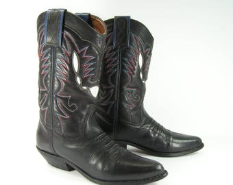 vintage cowboy boots women's 7 M B black texas genuine leather cowgirl 1980s