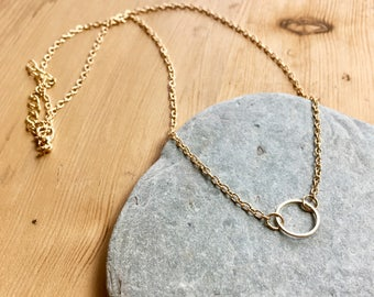 Circle Necklace Gold plated pendant Minimalist FREE DELIVERY Uk Seller Dainty Elegant