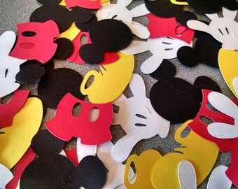 Mickey Mouse Die Cuts - Disney Mickey Confetti   Mickey Heads, Hands, Shoes & Pants - 40pc, Mickey Mouse Party, Disney Scrpbook