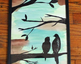 Watercolor; Ink Silhouette; Black Frame; 11x14; Bird Couple on a Branch