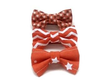 Orange set of 3 bow barrettes