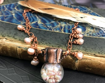 Electroformed Copper Glass Treasure Bottle Necklace Filled with Pink Pearls Statement Necklace | Store Closing SALE