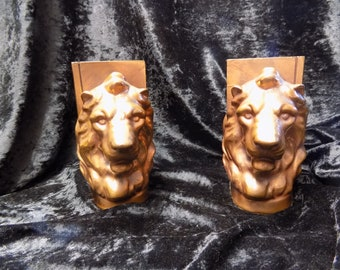 African copper lion head vintage bookends from African coppermines