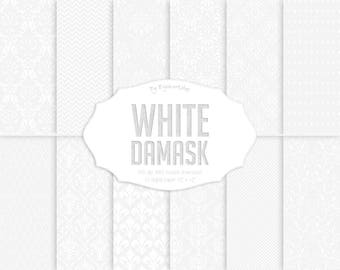 """White Damask Digital Paper: """"White Damask"""" digital paper set with white damask backgrounds and cute patterns"""