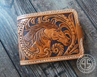 Leather billfold wallet,handmade,hand carved,small wallet