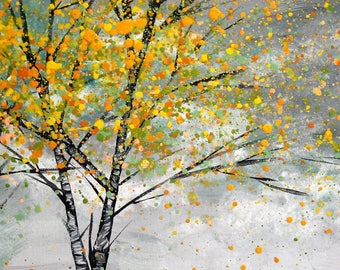 Large (A3) Giclee fine art print of original acrylic painting of a silver birch in autumn