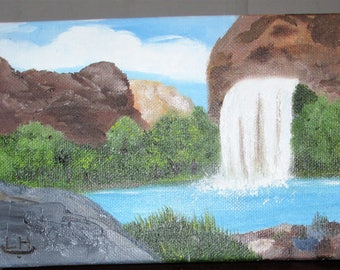Small oil painting,Majestic Falls