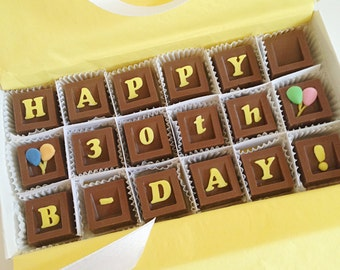 Happy Birthday Chocolate Message - B-Day Chocolate Squares - Unique Gift, Birthday Present - Chocolate Birthday Gift