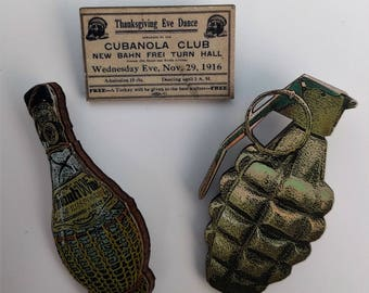 3 x Wooden Brooches - Grenade, Bottle, Ticket (SET A13)