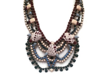 IN BOHEMIA marsala, cream, blue and grey handpainted  statement bib rhinestone necklace