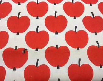 Tablecloth white red black apple worm in apple Modern Scandinavian Design , napkins , runner , curtains , pillow covers , great GIFT