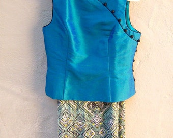Asian SILK top / 90s shantung Cheongsam / shiny teal aqua blue turquiose / sleeveless qi pao top mandarin collar / small medium