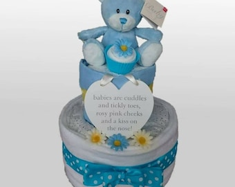 Two Tier Teddy,  Sock Cupcake and Hanging Plaque Nappy Cake Available for Boys,  Girls,  Gender Neutral