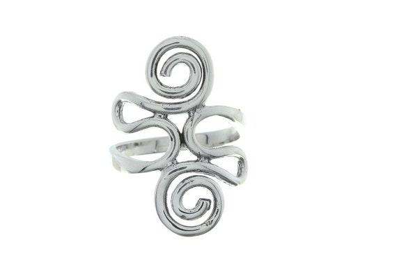 Sterling Silver Spiral Ring, Abstract Silver Ring, Curvy Ring, Boho Ring,